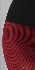 New COMMANDO Richly Ribbed Opaque Tights Pantyhose Red & Black S Small