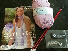 Patons Scarf In a Bag Easy To Knit Wool / Yarn Knitting Kit 100% Cotton DK Lilac