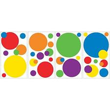 CIRCLES POLKA DOTS wall stickers 31 big decals scrapbook primary colors nursery
