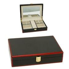 POLISHED WOOD MAHOGANY RED JEWELLERY BOX BNEW GIFT