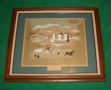 VTG JEAN HUGO WINTER SPORTS FRAMED SERIGRAPH PRINT ART NEW YORK GRAPHIC SOCIETY