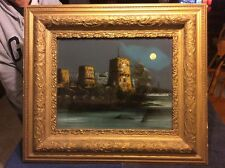 Antique Reverse Painting Castle Morro,Havana Cuba and The USS Maine 26x30