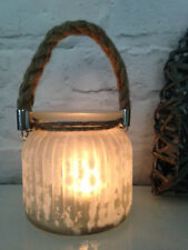 Hurricane Lantern Ribbed Frosted Glass Christmas Rope Handle Glass Candle