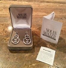 """NOLAN MILLER GLAMOUR """"IMPECCABLE PAVE 2 RING EARRINGS"""" PIERCED GORGEOUS!!!"""