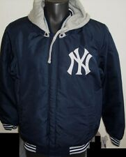 MLB New York YANKEES Reversible Poly/Fleece Hooded Jacket BLUE & GRAY 3X