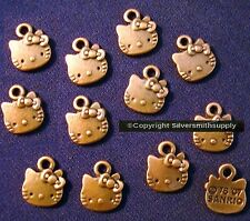 12 Hello kitty jewelry pendant charms antique copper plated zinc findings cfp055