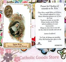 St Rita - Patron of Those with Wounds - Plastic stock Holy Card