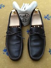 Hermes Men's Shoes Brown Leather Loafers UK 8.5 US 9.5 EU 42.5