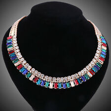 Women Gold Plated Rhinestone Crystal Pendant statement Necklace Jewelry