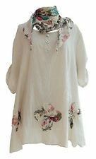 Ladies Lagenlook Italian Beige 3 Flower Thin  Cotton Top with Scarf 18 20 22