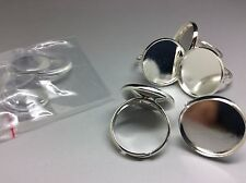 5 pcs Silver Tone Ring Base Blanks 18mm Tray Setting Glass Cabochons included