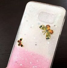 For Samsung Galaxy S6 - HARD TPU RUBBER SKIN CASE PINK CLEAR GLITTER BUTTERFLY