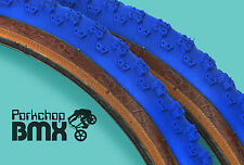 "Kenda Comp 3 III old school BMX skinwall gumwall tires 20"" X 1.75"" BLUE (PAIR)"