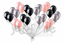 24 pc Sweet Coral Black & Silver Latex Balloons Party Decoration Baby Wedding