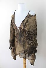 MNG Mango Cold Shoulder Brown Scarf Shirt Top Blouse Batwing Womens One Size