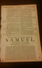 1683 King James Folio Bible Leaf Title To 2nd Samuel Rare Antique LOOK!!!!