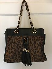 Leopard Print & Black Leather Look Chain Tote Bag