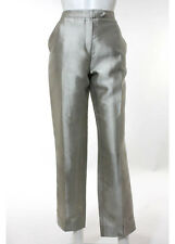 Oscar De La Renta Silver Silk Zip Up Shiny Lightweight Straight Pants Size 8