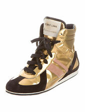 Helmut Lang Vintage Archival Gold Metallic & Black Sneakers Shoes 36 IT 6 US