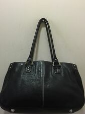 TIGNANELLO BLACK LEATHER SATCHEL SHOULDER BAG H:9 L:15 D:6 SD:10