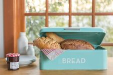 Turquoise Blue Bread Bin Rustic Kitchen Tin Retro Keep Fresh Box Canister Metal
