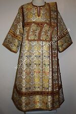 TO ORDER Deacon Russian Orthodox Vestment White Burgundy Gold Metallic Brocade