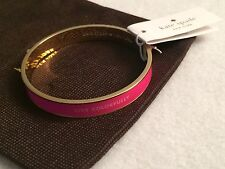 NWT Kate Spade New York Gold & Pink Live Colorfully Bangle with Drawstring Bag