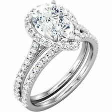 2.2 ct total PEAR SHAPE & Round DIAMOND Halo Engagement Bridal set 14k Gold Ring