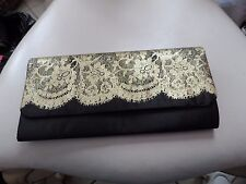 Ladies black with sparkle gold lace clutch evening bag