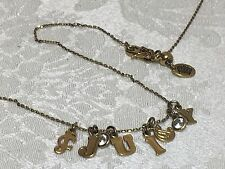 JUICY COUTURE Gold Tone Charm Necklace Rhinestone Letters