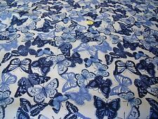 STRETCH CREPE BUTTERFLY PRINT-WHITE/BLUE  -DRESS FABRIC-FREE P&P
