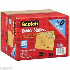 "3M Scotch Bubble Mailers size 0 (6"" x 9"") 25 Pack Envelope Mailer Free Shipping"