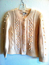 J Crew Novelty Knit Sweater Wool/Cashmere Blend Pale Yellow / Off White  L