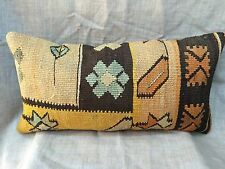 Handmade Turkish Kilim cushion cover, Throw pillow, Lumbar Boho 12x24""