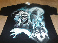New MMA Skull Wolf Indian Mens Black UFC Fight T-Shirt Size Large L