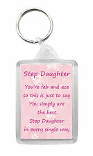 STEP DAUGHTER Keyring Keyfob Poem Birthday Christmas Fun Novelty Gift Keepsake