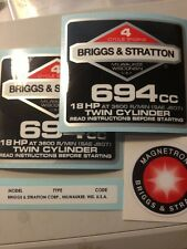 Briggs & Stratton 18Hp Sticker Decal Set 1986 90s W/ Magnetron Welder
