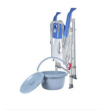 Aluminum folding blue commode  chair toilet bathroom shower mobile bucket