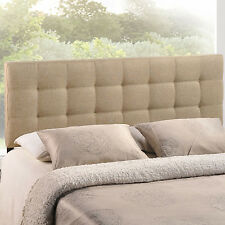 Queen Size Head Board for Bed Room Linen Polyester Button Tufting Fabric Beige