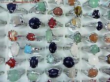 US SELLER wholesale rings 20pc agate stone and gemstone fashion costume rings