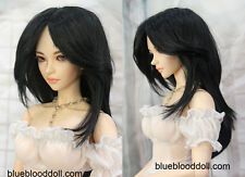 "1/4 bjd 7-8"" msd doll head jet black synthetic mohair wig dollfie Iplehouse luts"