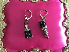 Betsey Johnson Vintage Film Noir Mismatch Pink Glitter Lipstick Earrings KISS ME
