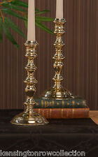 "CANDLE HOLDERS - ""KINGS ARMS"" BRASS STEP CANDLESTICK PAIR - 9.25""H -  SET OF 2"