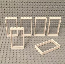 Lego X6 New White Door Frame 1x4x6 With Trans-clear Glass Window Wall Parts Lot