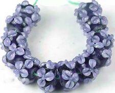 Lampwork Handmade Glass Purple Flower Rondelle 12