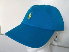 Polo Ralph Lauren Hat Baseball Cap~Caribbean Blue~Fabric Strap~Yellow Logo~NWT