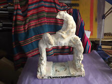 ANTIQUE 1930S DECO PLASTER STAND FOR FISH TANK POLAR BEARS 22X16X8IN