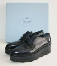 $950 PRADA Scalloped Platform Oxford Black Wing Tip 41 / 11