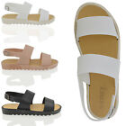 WOMENS STRAPPY SANDALS SLINGBACKS LADIES SUMMER CLEATED SOLE WEDGE PEEPTOE SHOES