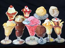 10 VINTAGE ICE CREAM DIE CUT PAPER SIGNS SODA FOUNTAIN DAIRY ADVERTISING #3